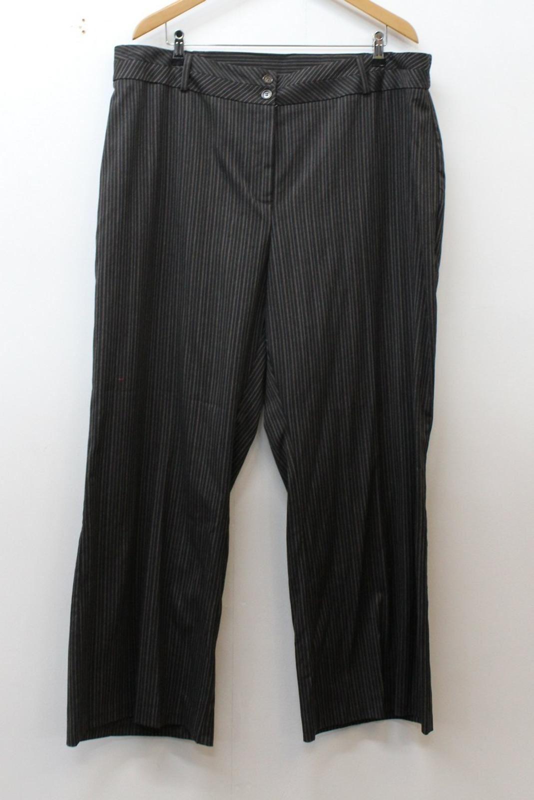 Agenda Femmes Marron Foncé Coupe Large Rayures Tailleur Pantalon W41 L28 Bnwt