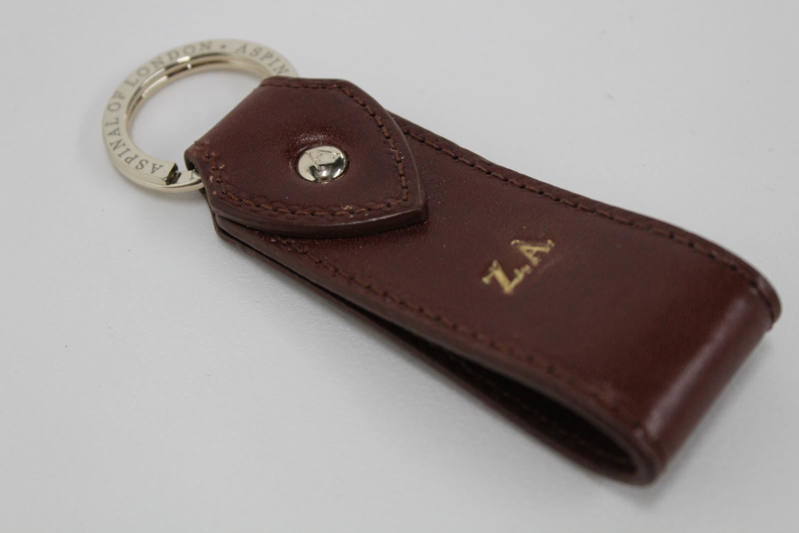 ASPINAL-OF-LONDON-Leather-Walnut-Brown-Initials-Z-A-Gold-Accent-Keyring-Fob-NEW