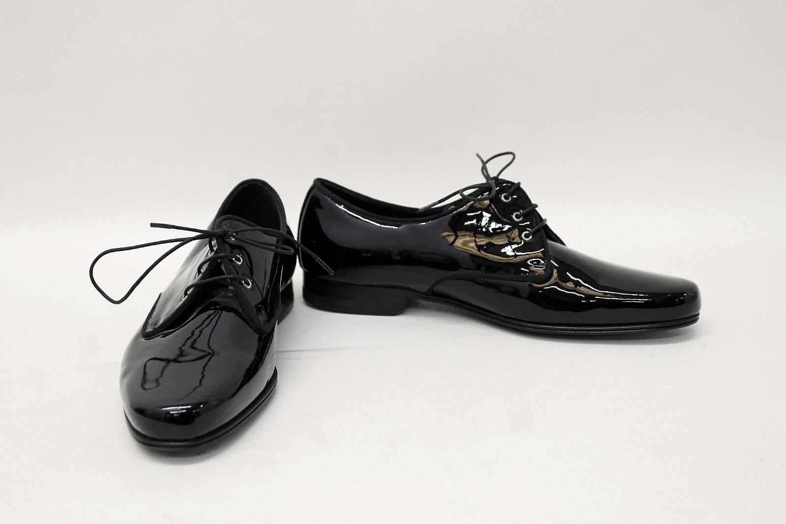 DOLCE-amp-GABBANA-Ladies-Black-Patent-Leather-Lace-Up-Loafers-Shoes-EU36-UK3