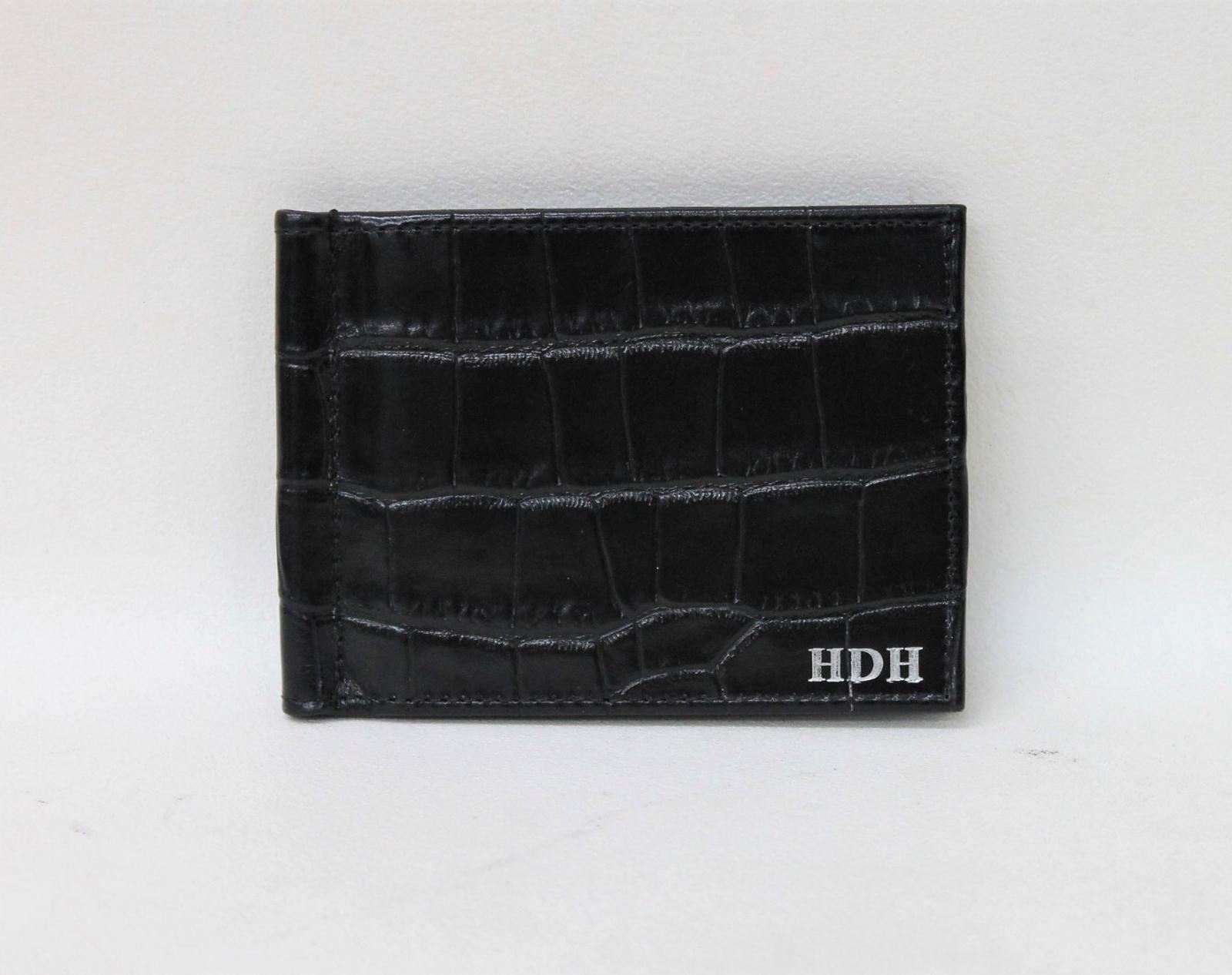 NWOT-ASPINAL-OF-LONDON-Men-039-s-Money-Clip-Croc-Black-Bifold-Leather-Wallet