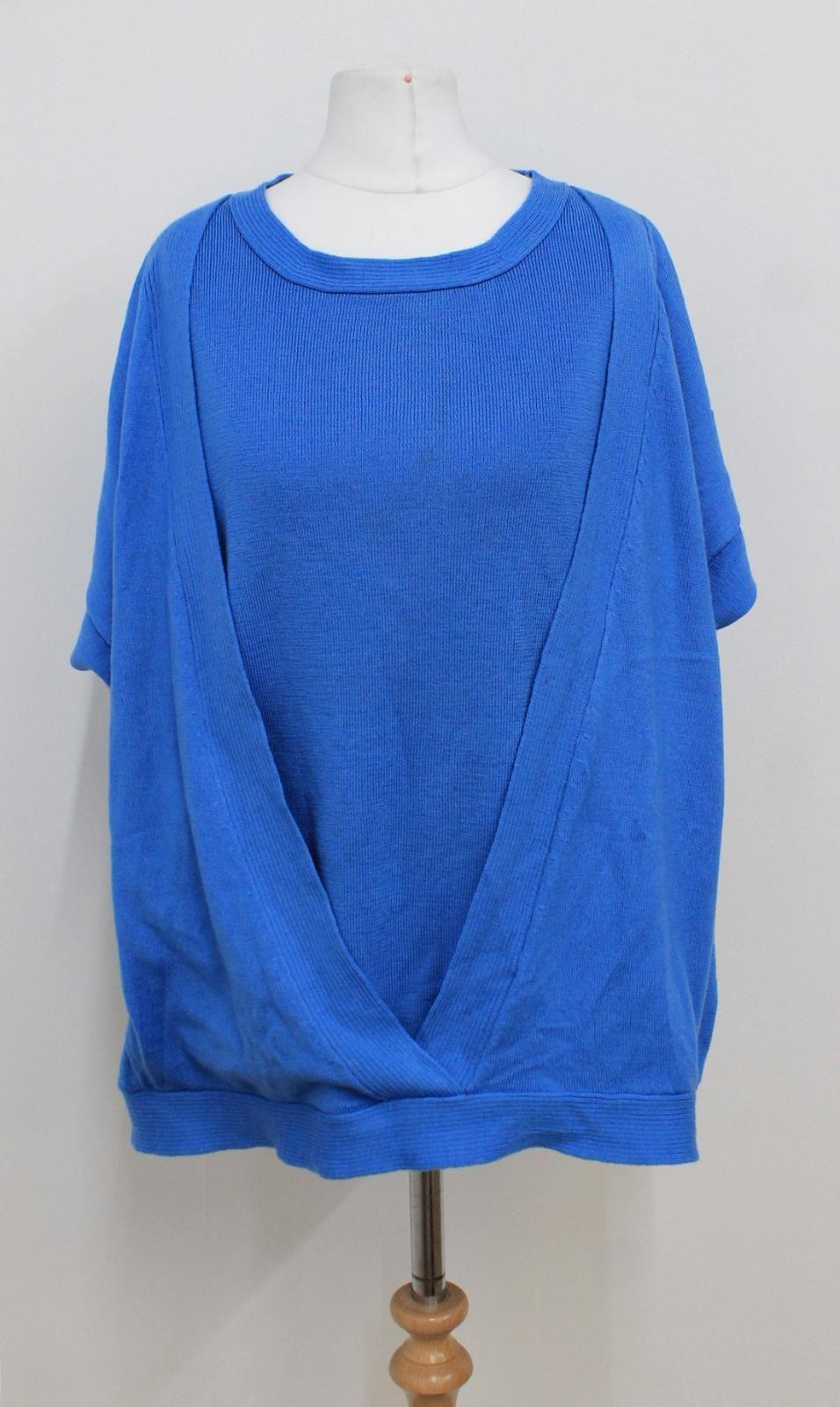 JAEGER-Ladies-Blue-Kimono-Sleeved-V-Neckline-Wool-Layered-Look-Top-Size-XL