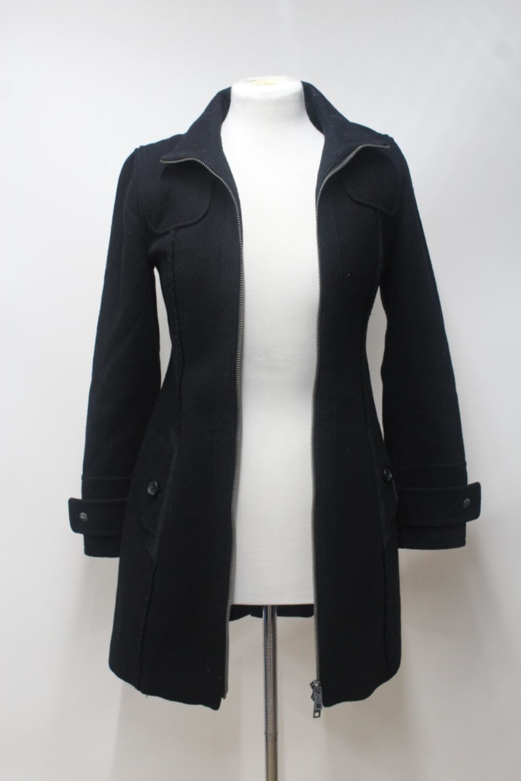 Zip Collar Ladies Coat Sleeve Long Jeans Dkny Xs Wool Blend Up Black Stand 6XAqZTnwp