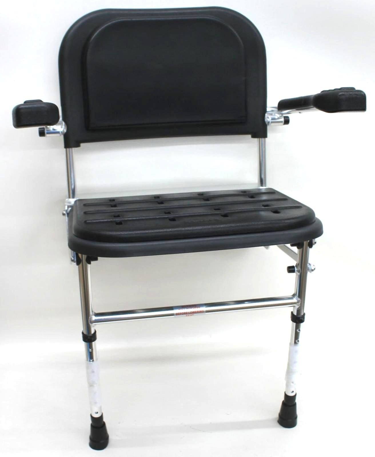 NYMAS-335004-BL-Premium-Black-Wall-Mounted-Shower-Seat-w-Legs-Back-amp-Arms-NEW