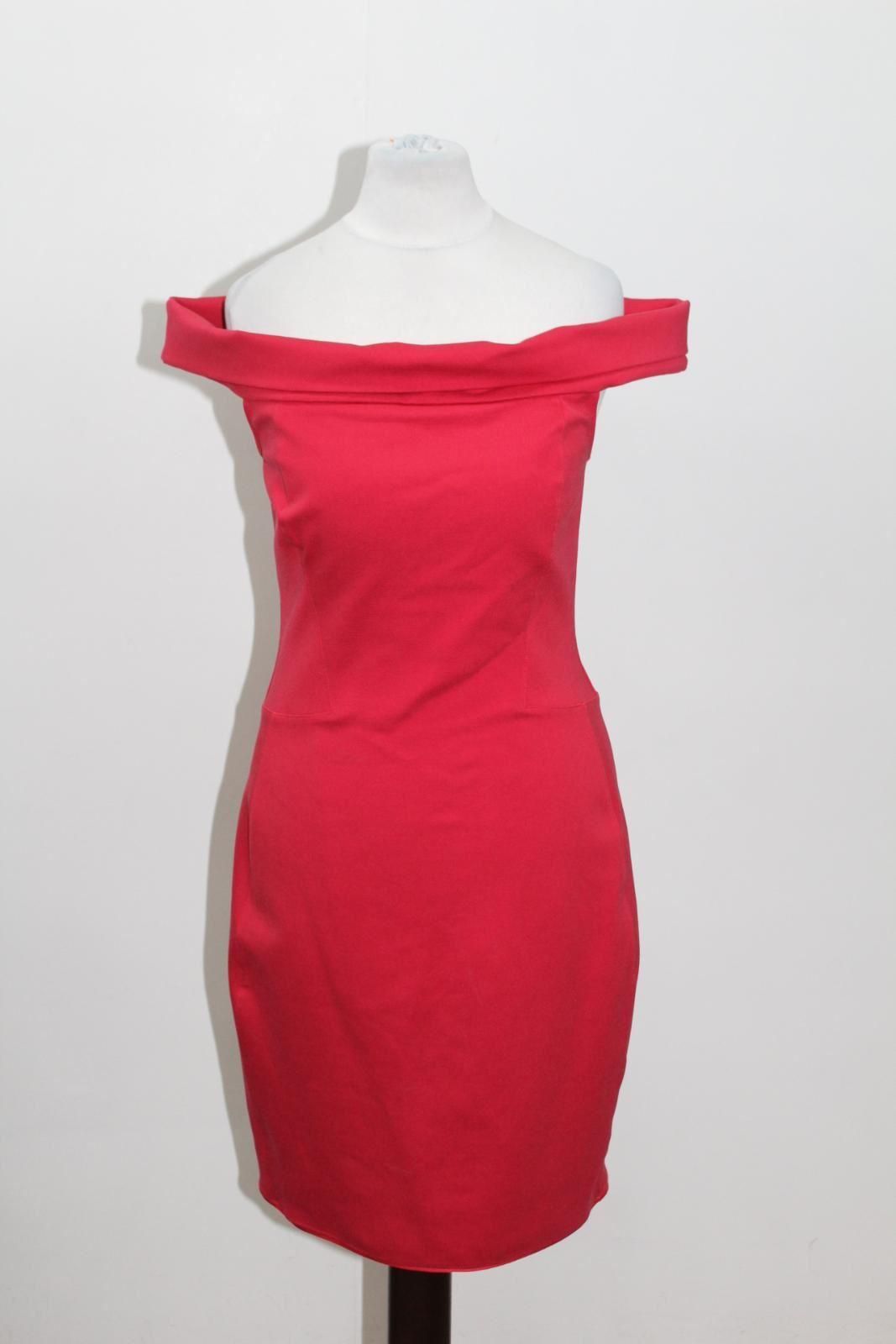 HALSTON HERITAGE Ladies rot Off The Shoulder Bardot Neck Pencil Dress US6 UK10
