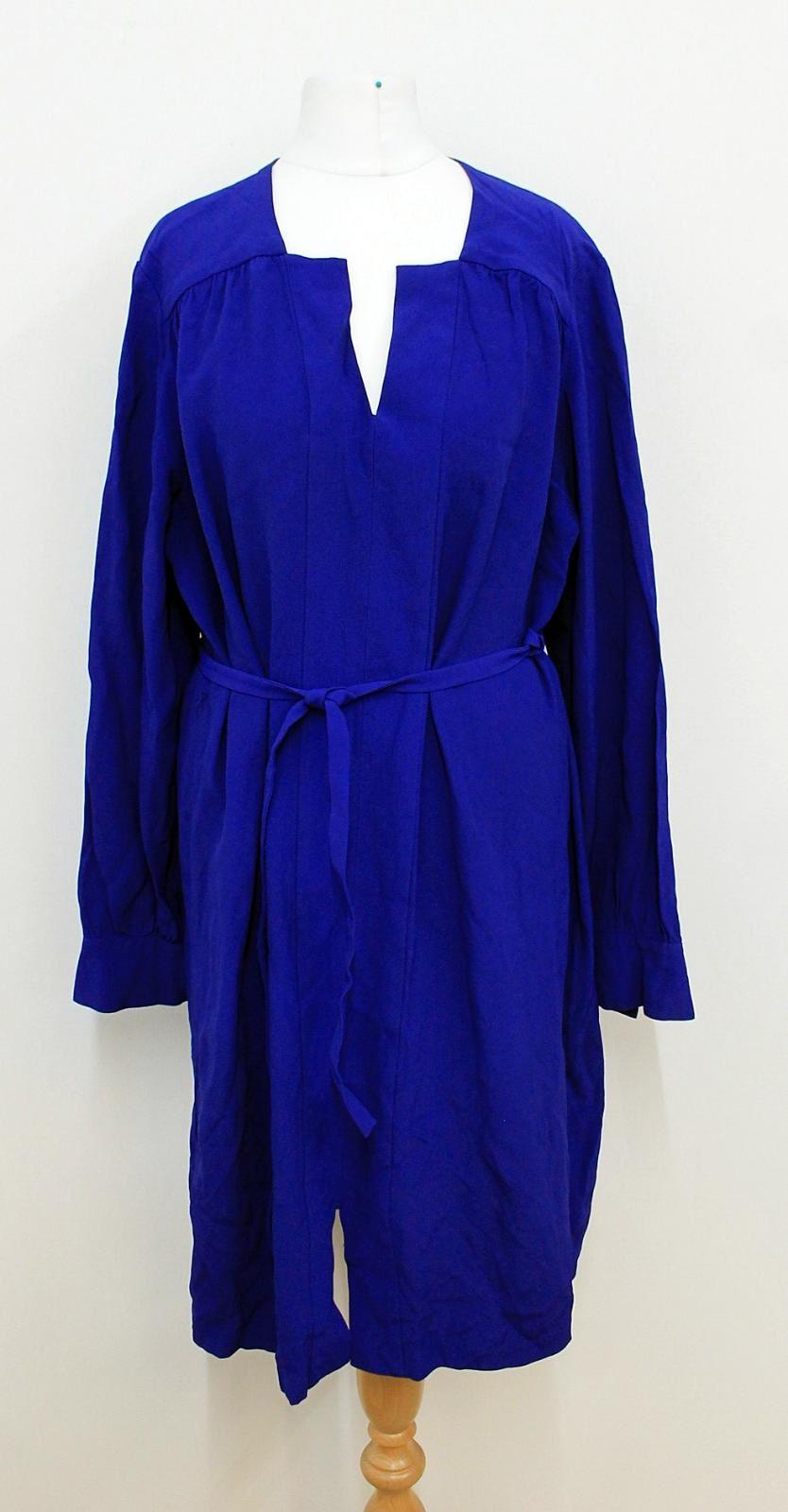 L-K-BENNETT-Ladies-Navy-Blue-Indigo-Long-Sleeved-V-Neckline-Dress-Size-UK12