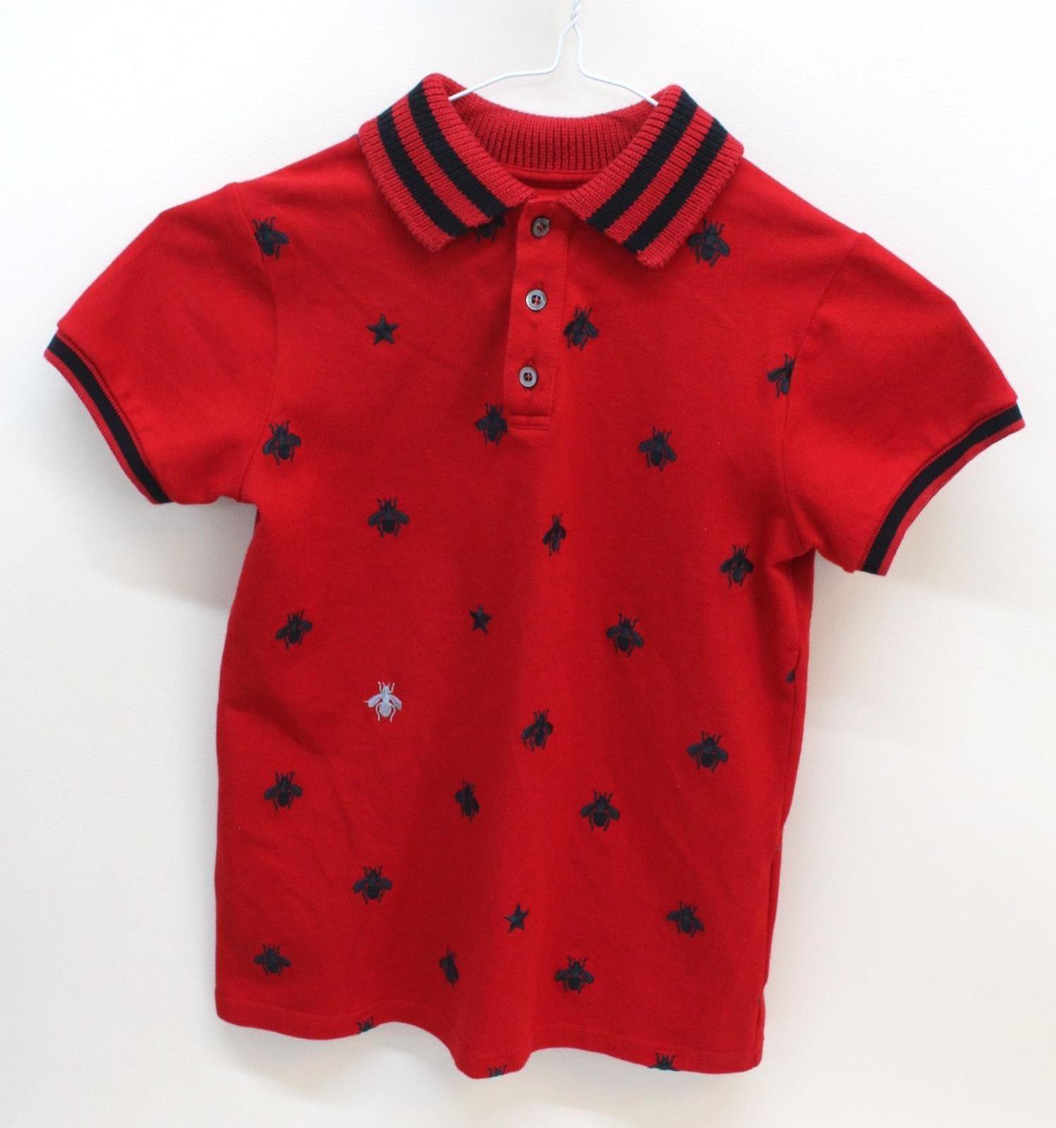 e12de5ba4d GUCCI Boys Red Cotton Blend Bee Embroidery Short Sleeve Polo Shirt 8 ...