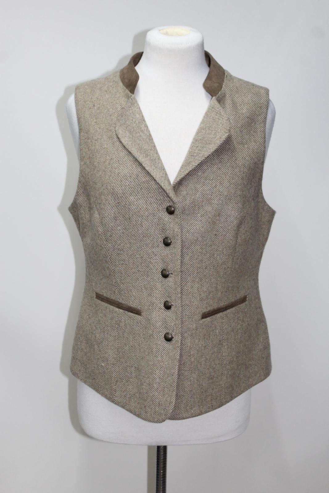 DUBARRY Spindle Ladies Sable Beige Wool Single Breasted Waistcoat UK12 BNWT
