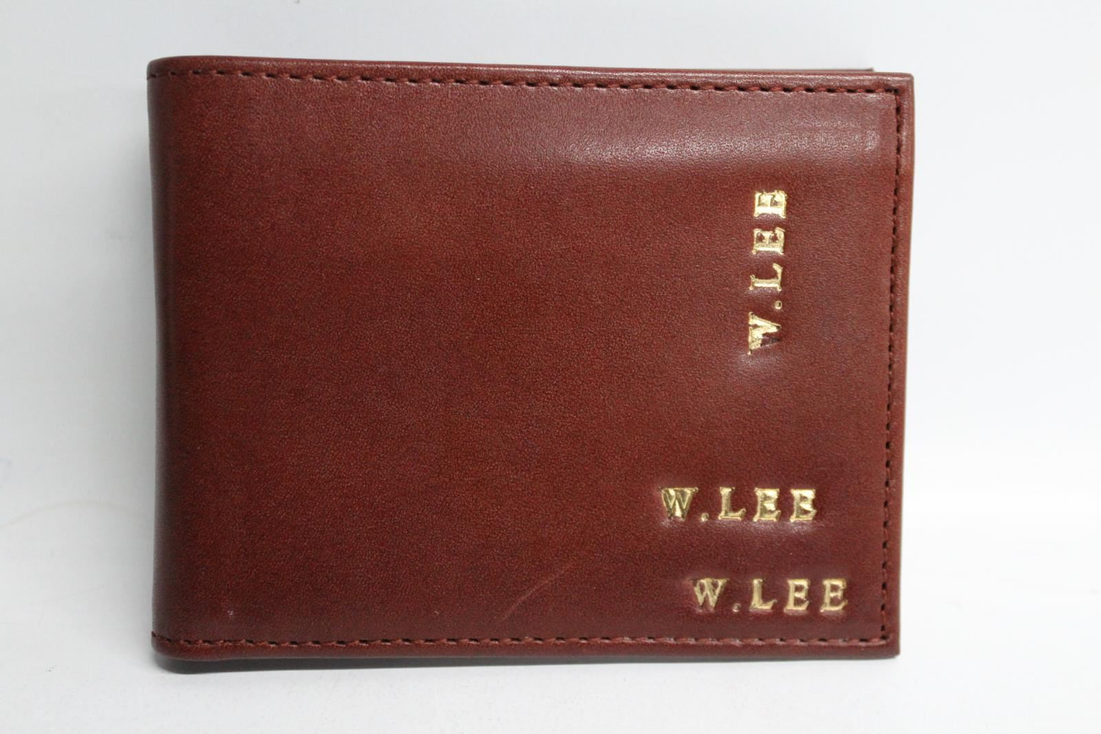 ASPINAL-OF-LONDON-Brown-Leather-8-Card-Slot-Wallet-With-Initials-W-LEE-NEW