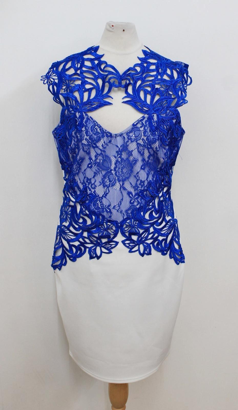 0faaeae2586035 Sandali donna Bianco LIPSY LONDON Pizzo Blu Blu Blu Cobalto open back  bodycon abito ritagliato UK12 86b6f7