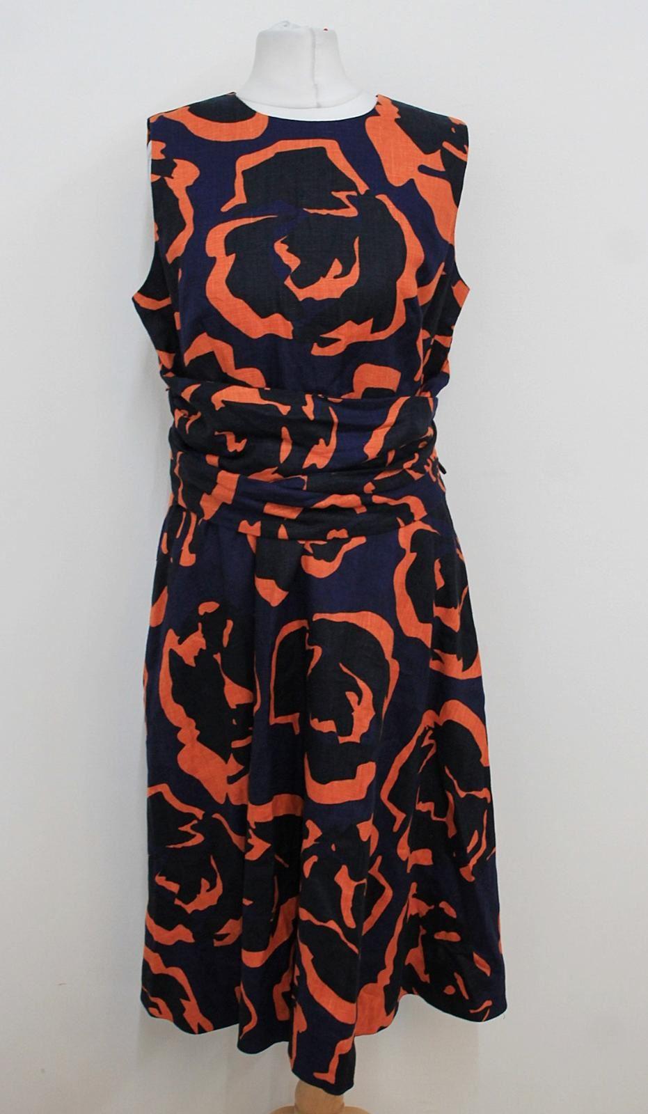 Amical Hobbs Femme Navy Mandarine Imprimer Sans Manches Twitchill Lin Robe Uk12 Bnwt Promouvoir La Production De Fluide Corporel Et De Salive