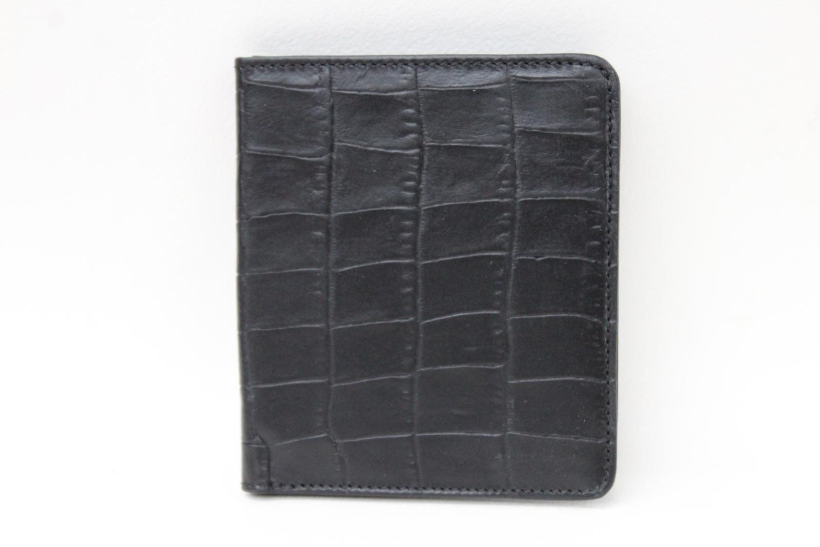 KIKI-JAMES-Men-039-s-Black-Croc-Embossed-Leather-Bifold-4-Slot-Card-amp-ID-Wallet-NEW