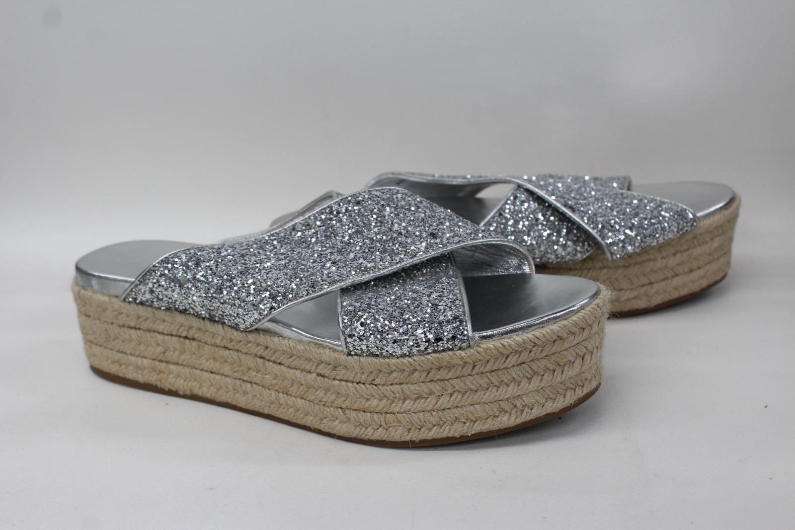 2d7d6ff2247 MIU MIU Ladies Silver Glitter Raffia Wedge Slip On Sandals Mules ...