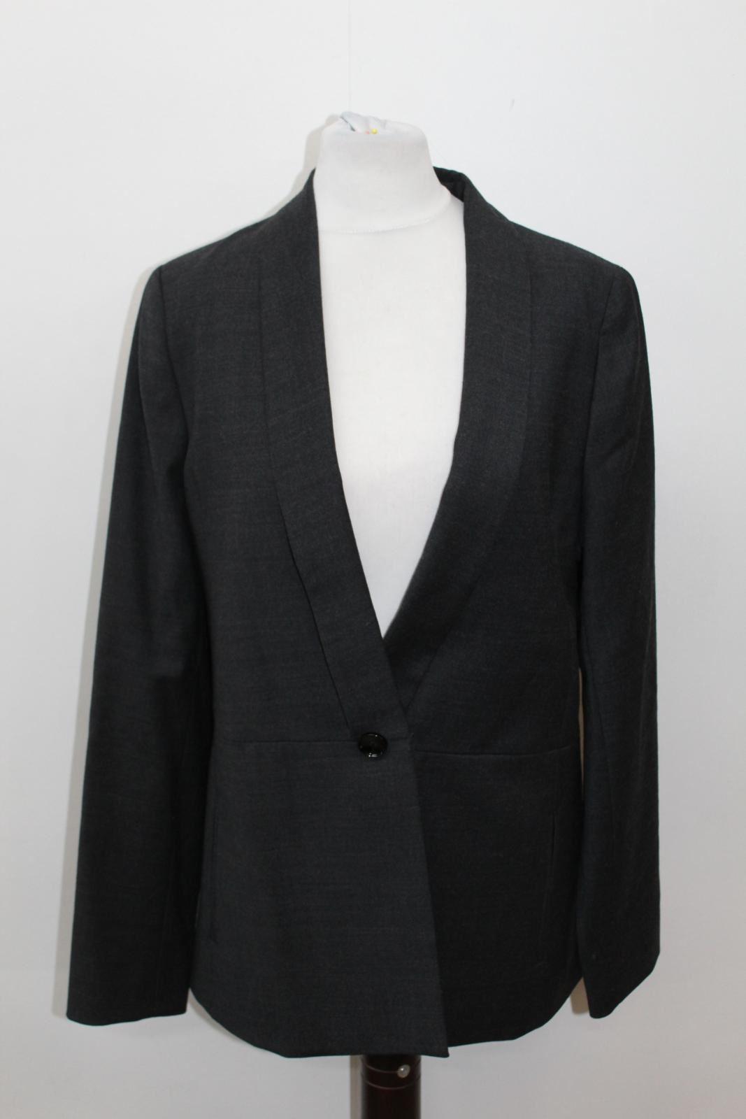 AEGER-Ladies-Grey-Wool-Blend-Single-Breasted-Blazer-Jacket-UK8-EU36-BNWT