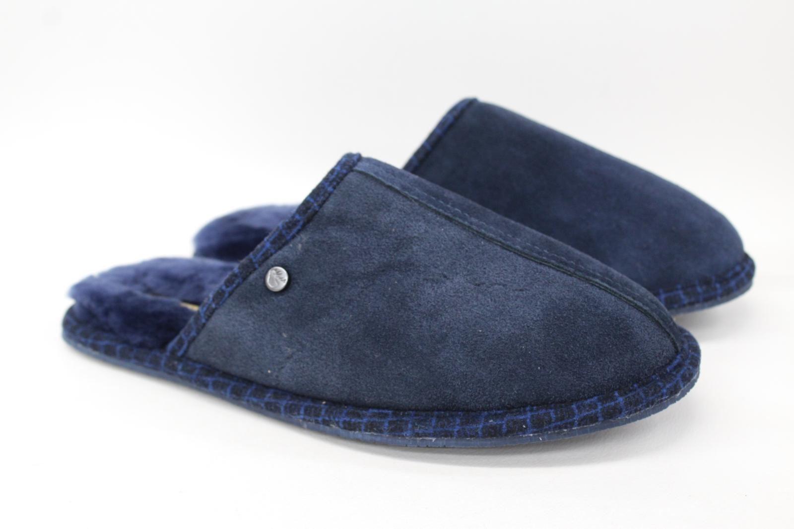 éNergique Goodwin Smith Homme Bleu Marine En Peau De Mouton Slip On Mule Pantoufles Uk8 Eu42 Nouveau