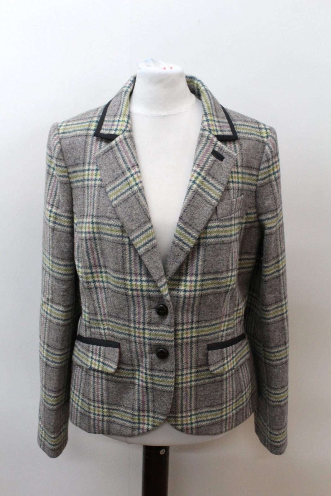 BODEN-Ladies-Grey-Green-Wool-Single-Breasted-Checked-Blazer-Jacket-UK14-EU42