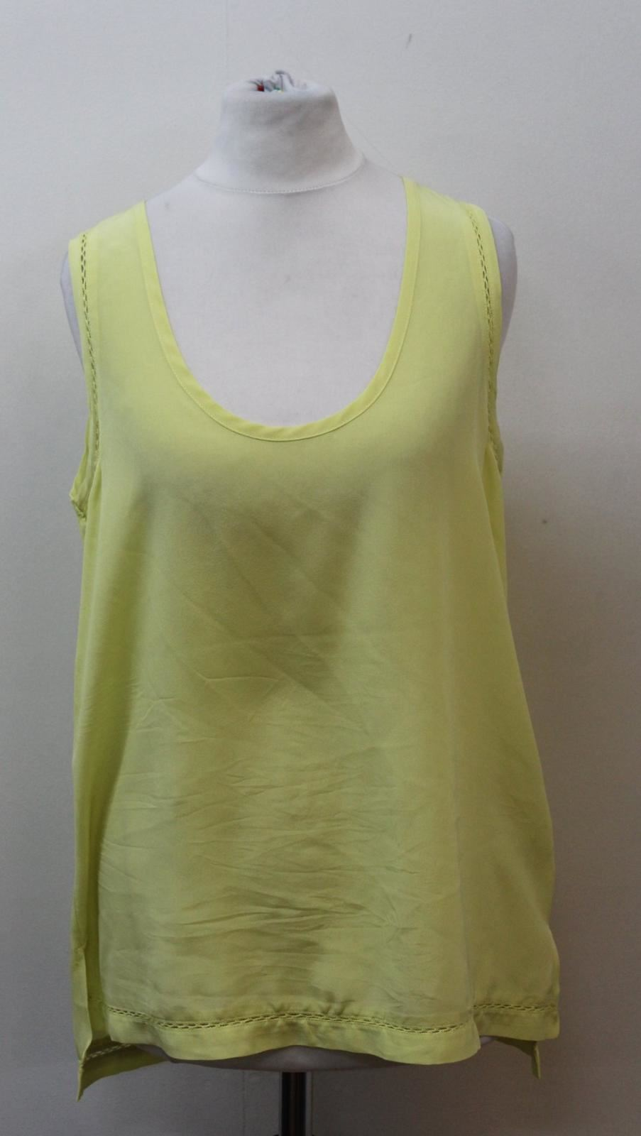 Xs Silk Scoop Sleeveless Ladies Cut Out Neckline Yellow Pyrus Top Vest Size AqP1OE