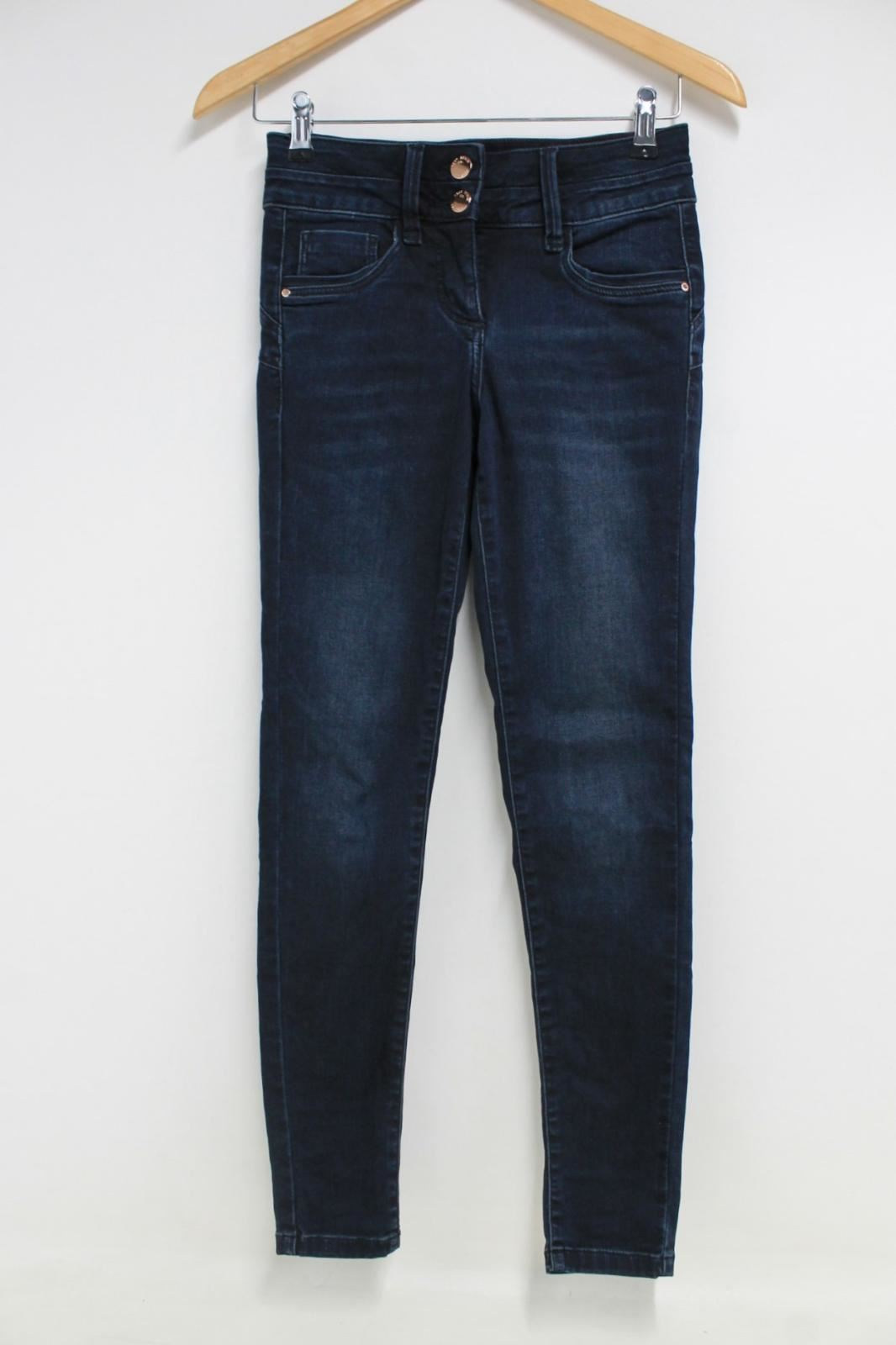 NEXT-Ladies-Navy-Blue-Stretch-Cotton-High-Rise-Straight-Leg-Skinny-Jeans-UK8