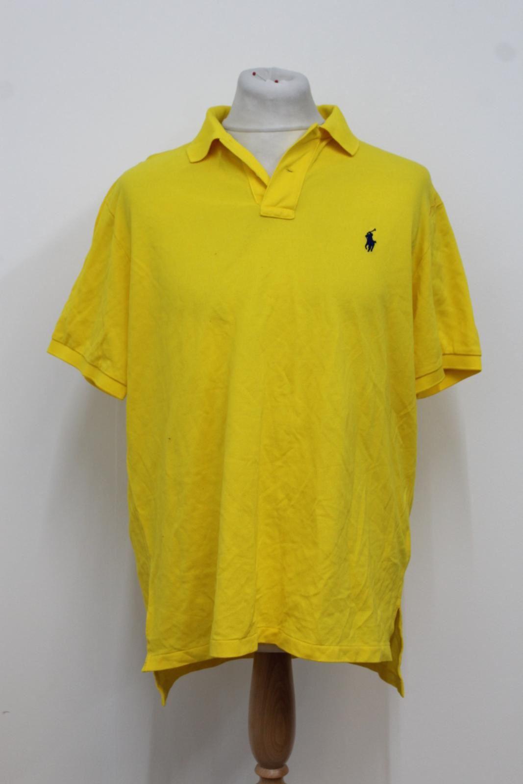 Ralph-Lauren-Polo-para-hombre-de-Amarillo-De-Algodon-Manga-Corta-Camisa-Polo-De-Ajuste-Personalizado