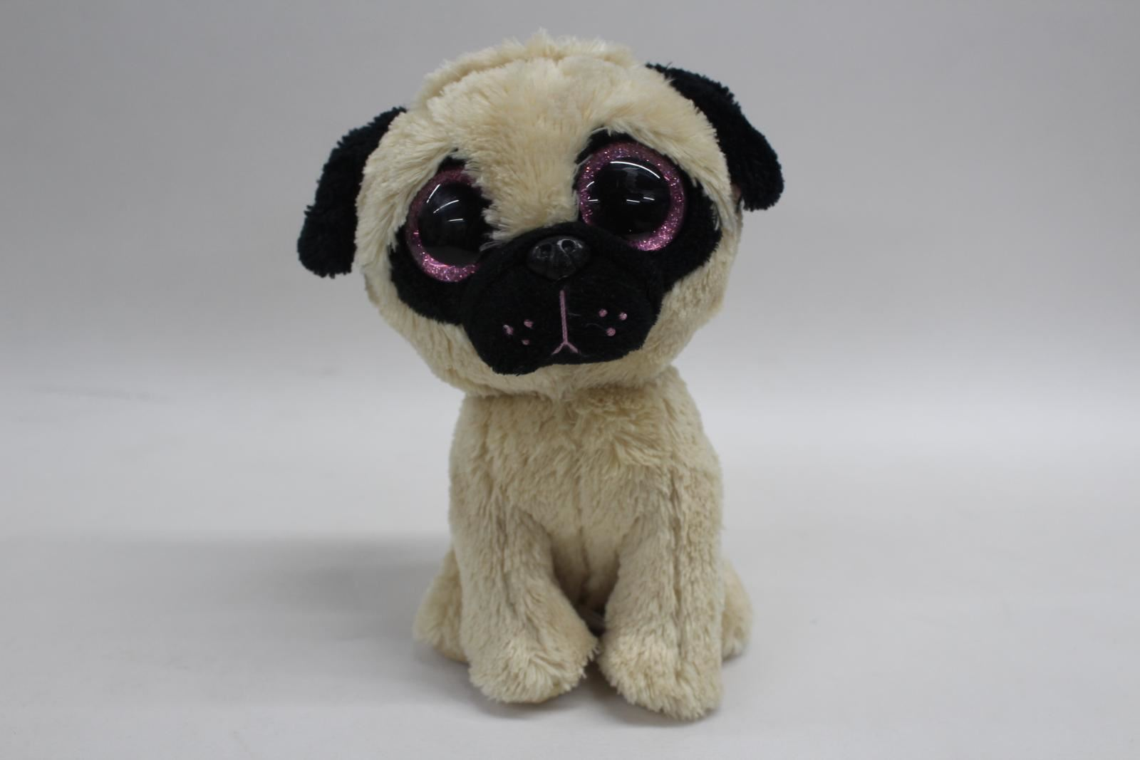 TY-Beanie-Boo-Pugsley-Retired-6-034-Plush-Dog-Collectible-Cuddly-Toy-Pink-Eyes