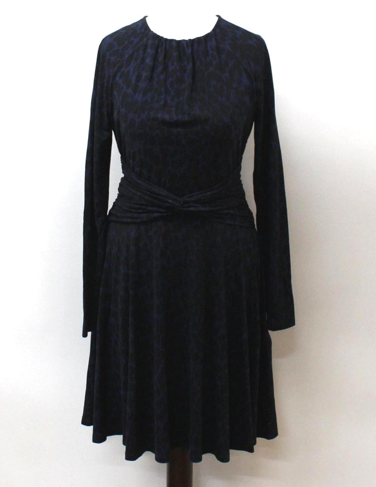WHISTLES-Ladies-Navy-Blue-Black-Long-Sleeve-Leopard-Print-Shift-Dress-UK10-EU38
