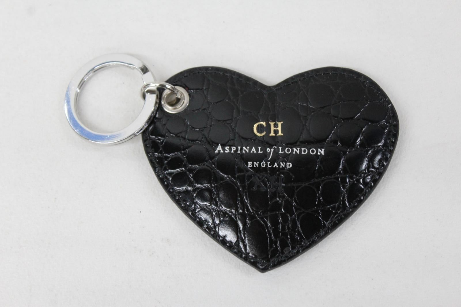 ASPINAL-OF-LONDON-Ladies-Black-Croc-Print-Leather-Stamped-Heart-Keyring-NEW