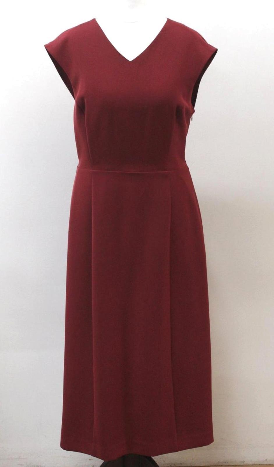 JAEGER-Ladies-Rusty-Red-Cap-Sleeve-V-Neckline-Shift-Drape-Back-Dress-UK10-EU38
