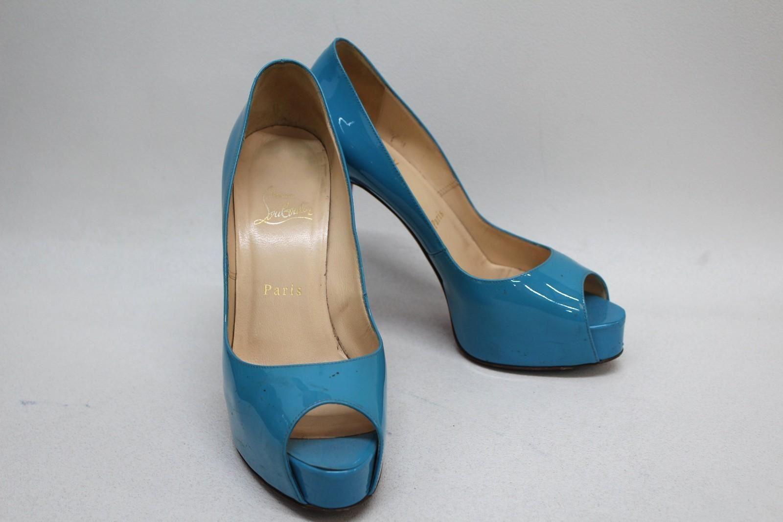 Christian-Louboutin-Damen-Blau-Lackleder-Peep-Toes-Schuhe-Groesse-uk5-eu38