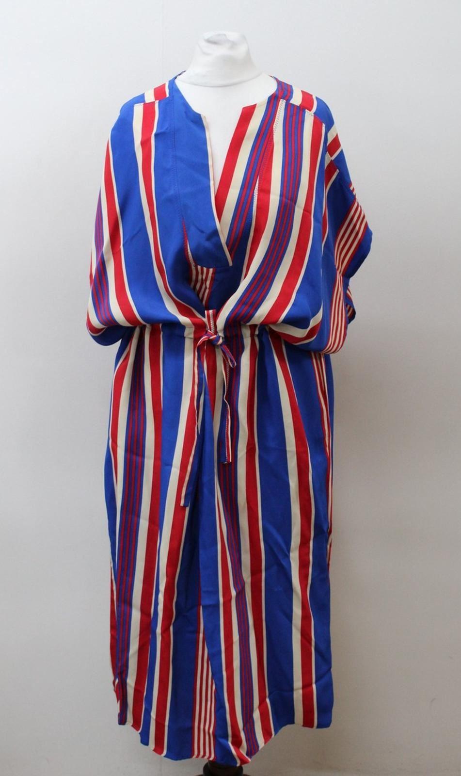 amp-Other-Stories-Bleu-Femmes-Rouge-Col-V-manches-courtes-a-rayures-robe-EU36-UK10