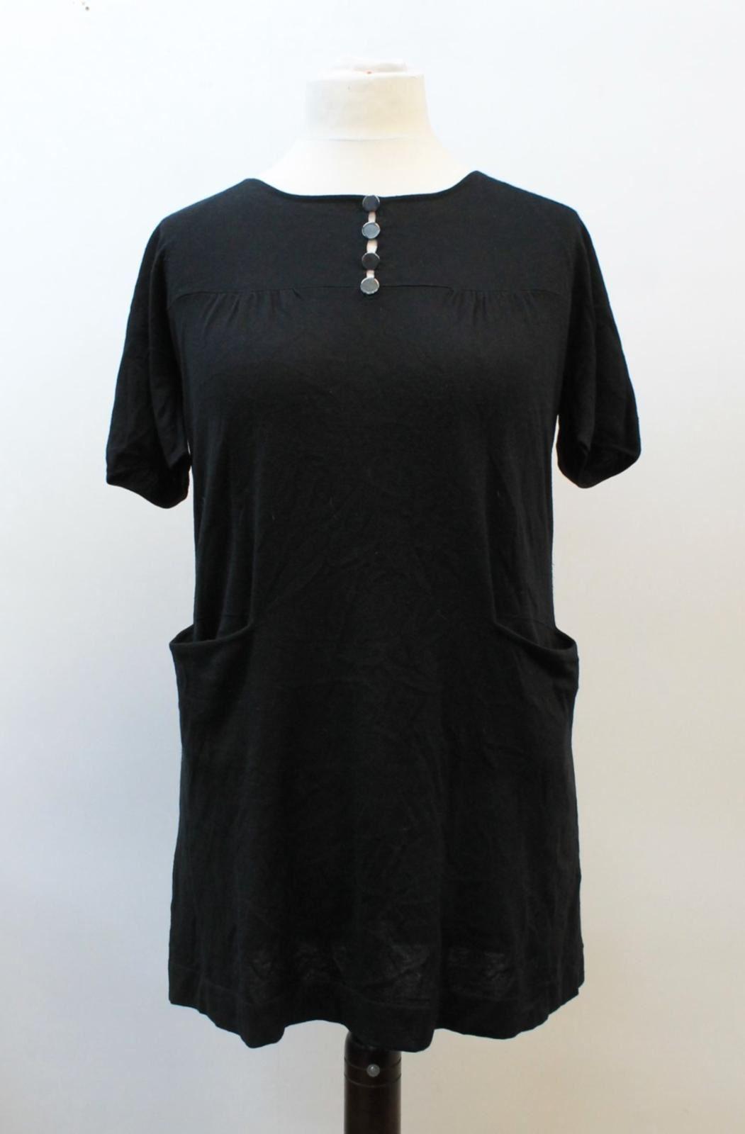 MAJE-Ladies-Black-Silk-Cashmere-Blend-Short-Sleeved-Boat-Neck-Tunic-Dress-L