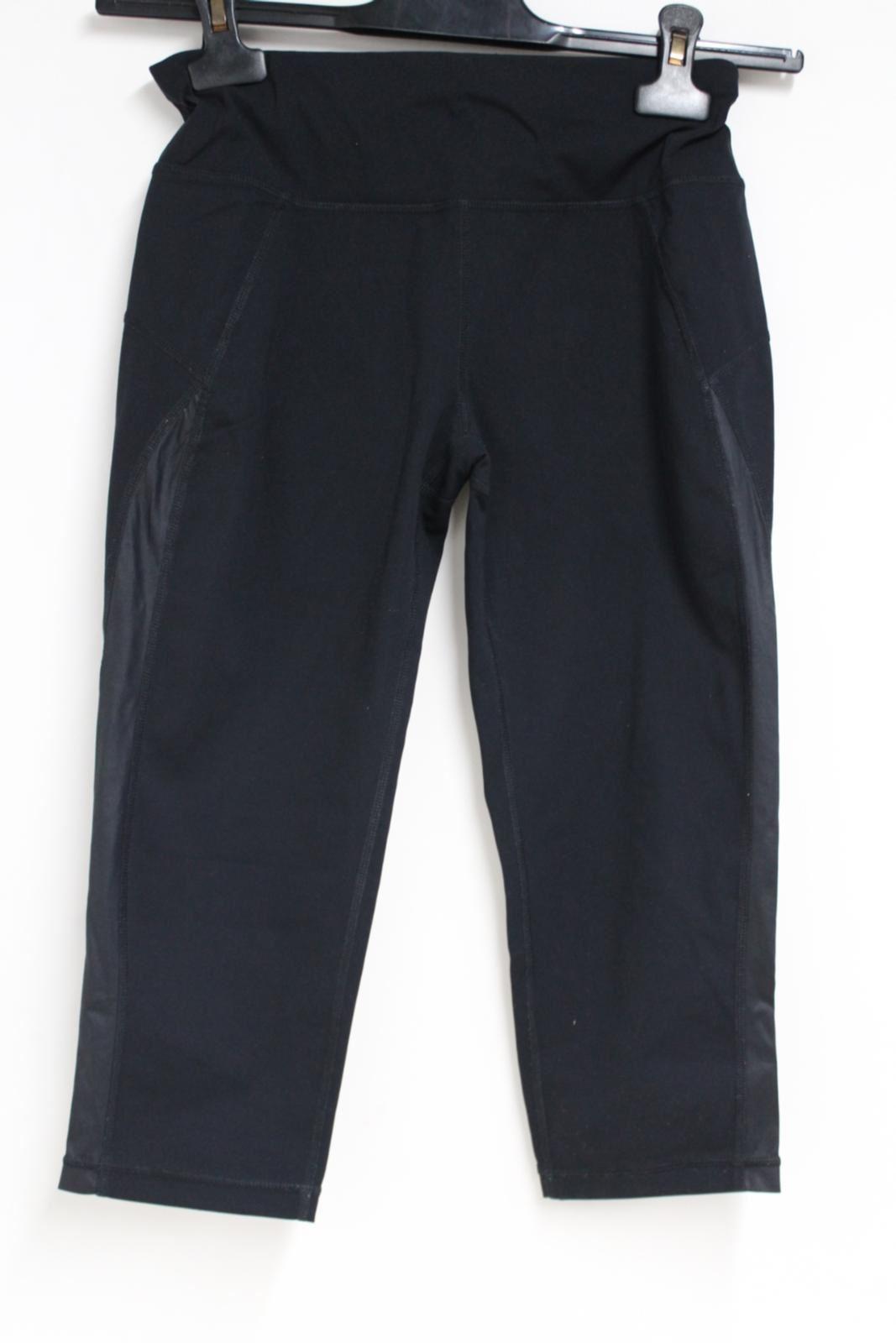 Sweaty-Betty-Ladies-Negro-3-4-piernas-Corto-Leggings-Activewear-pequeno-W26-L16