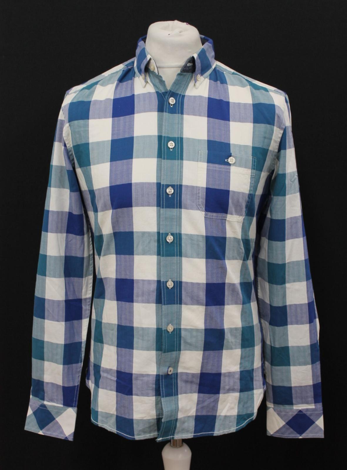 BNWT Joules Uomo X-Hewitt Blu Teal Quadretti Slim Fit Puro Cotone Camicia Taglia S