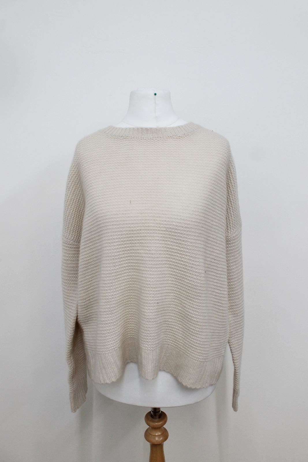Bnwt 360 Cachemire Femme Beige En Maille Dos Ouvert Cashmere Pull Taille Xs
