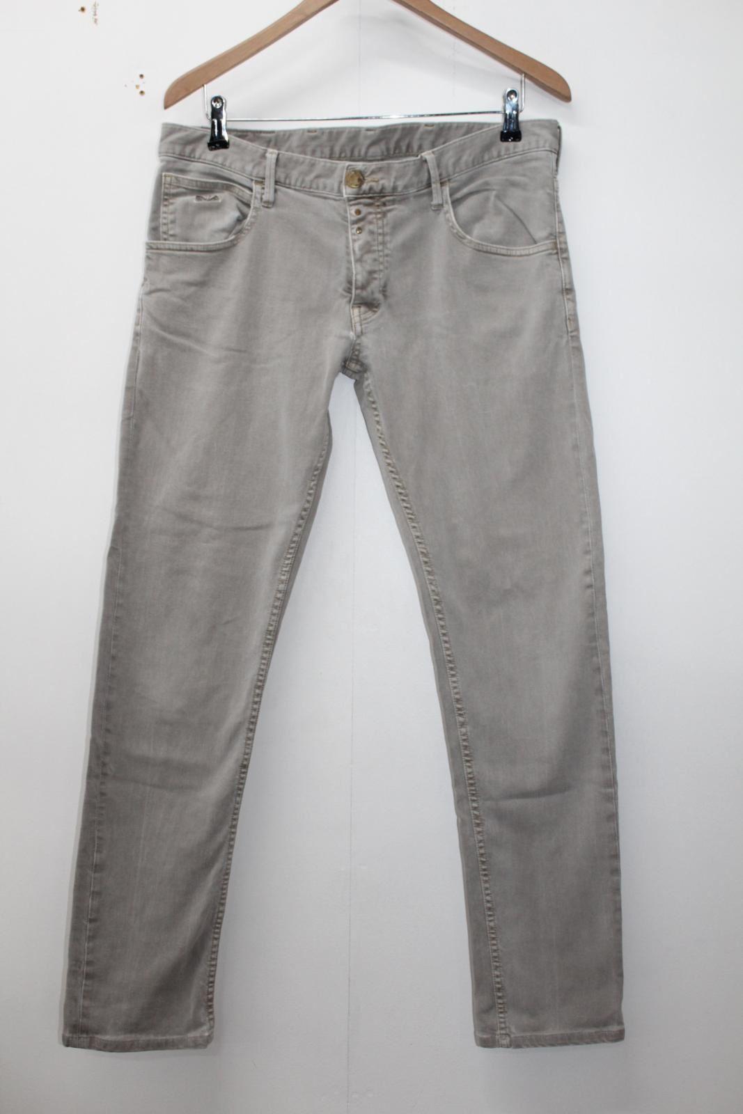 db117c45 EMPORIO ARMANI JEANS Men's Beige Cotton Blend Johnny Slim Fit Jeans ...