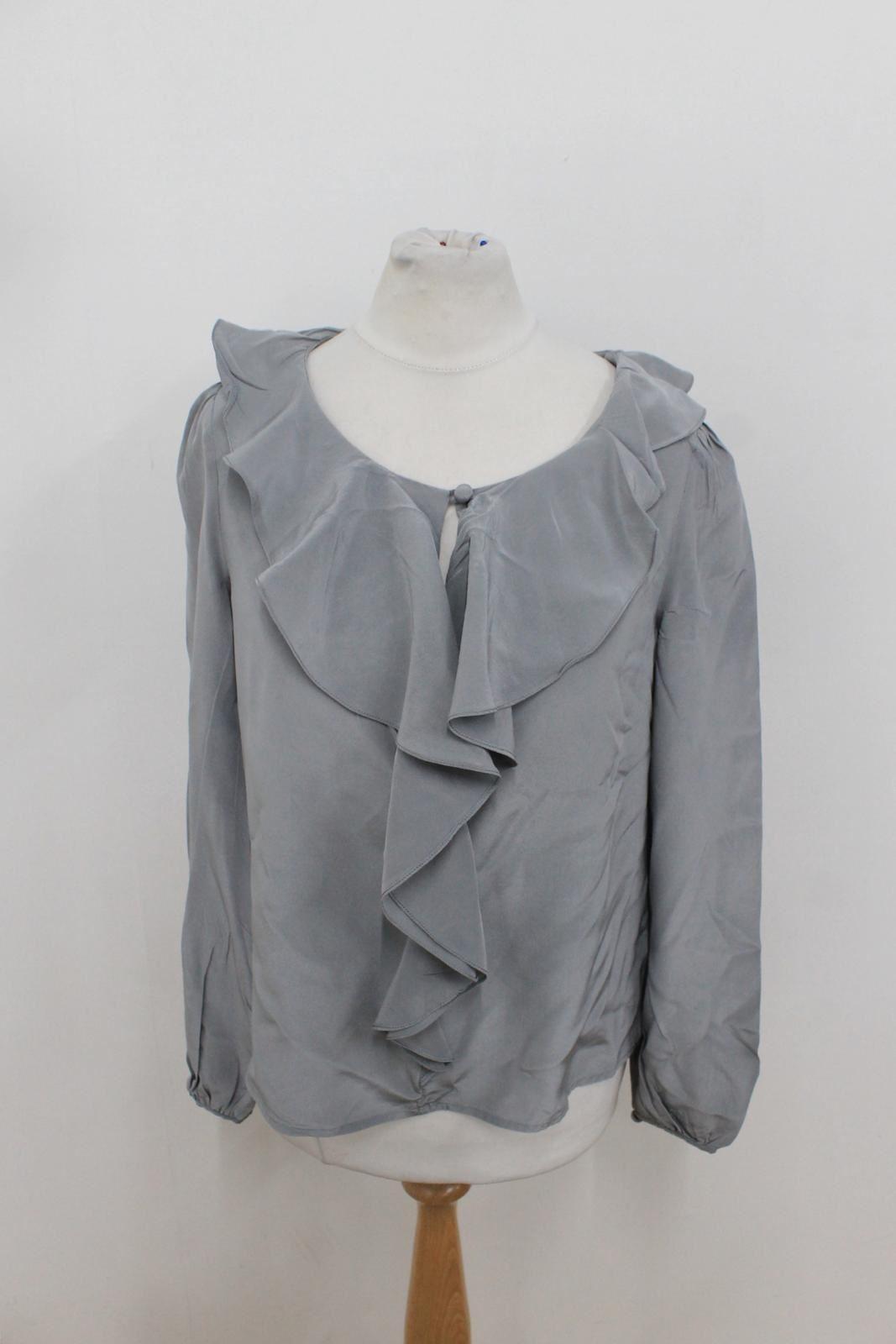 L-K-BENNETT-LONDON-Ladies-Grey-Silk-Frilled-Ruffle-Long-Sleeved-Blouse-Size-UK8