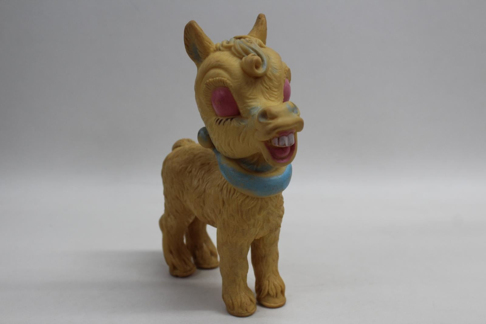 BLUE-RIBBON-1958-Vintage-Rubber-Horse-Squeak-Toy-Yellow-8-Inch-20cm-Tall