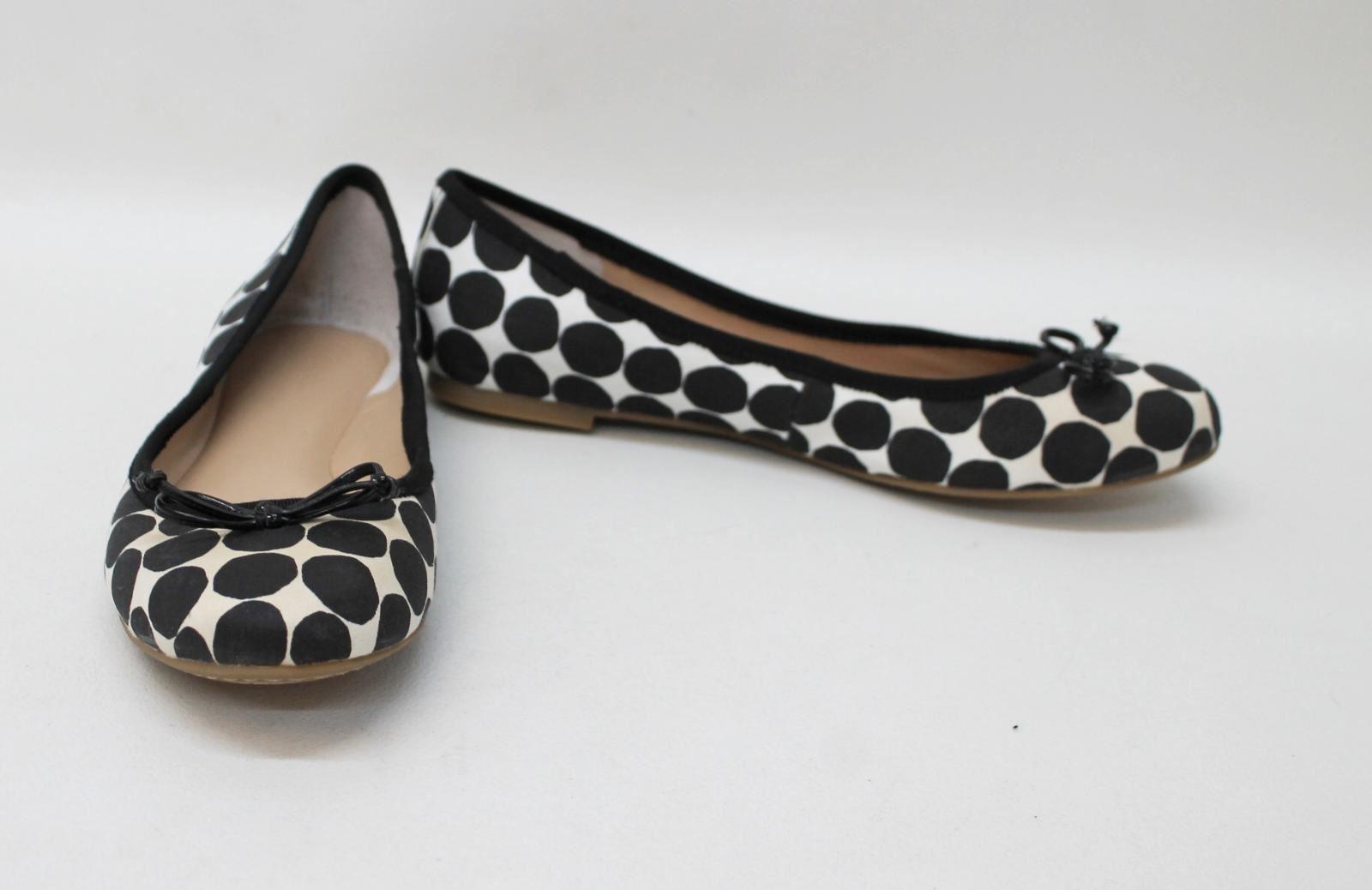 NWOT-BANANA-REPUBLIC-Ladies-Black-Beige-Polka-Dot-Ballerina-Shoes-EU38-UK5