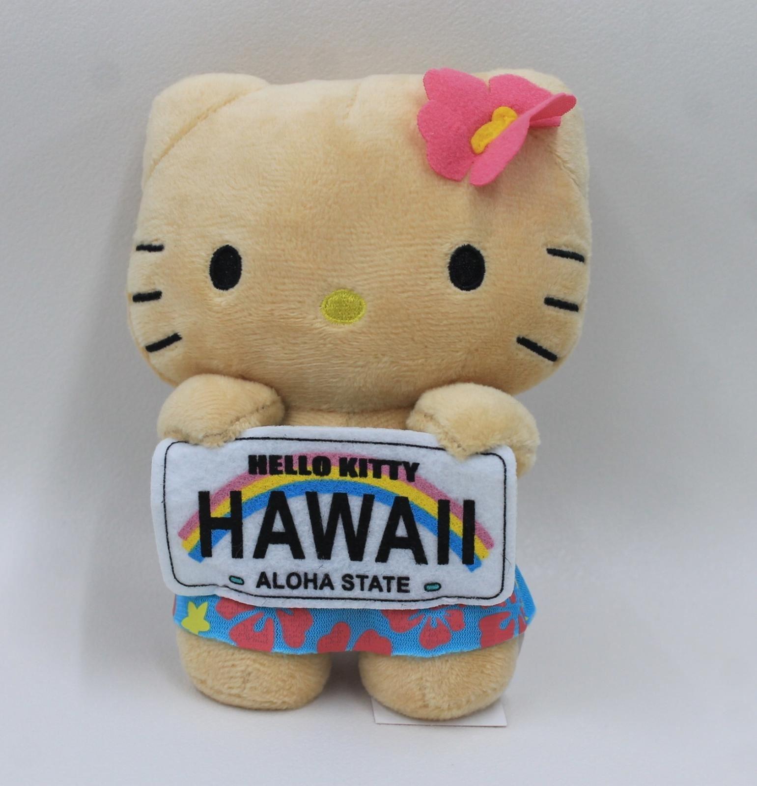 HELLO-KITTY-SANRIO-Hawaii-Aloha-State-License-Plate-Girls-Plush-Doll-Toy-BNWT
