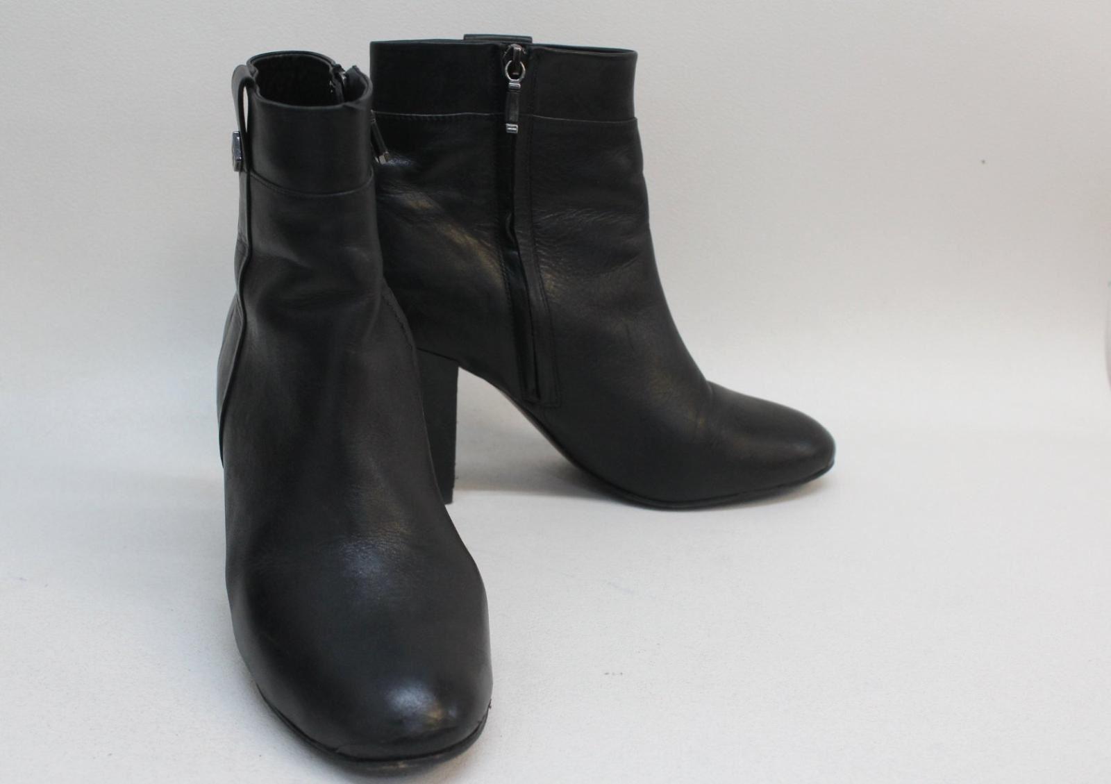 MASSIMO DUTTI Ladies Black Leather Round Toe Side Zip Ankle Boots UK7 EU40