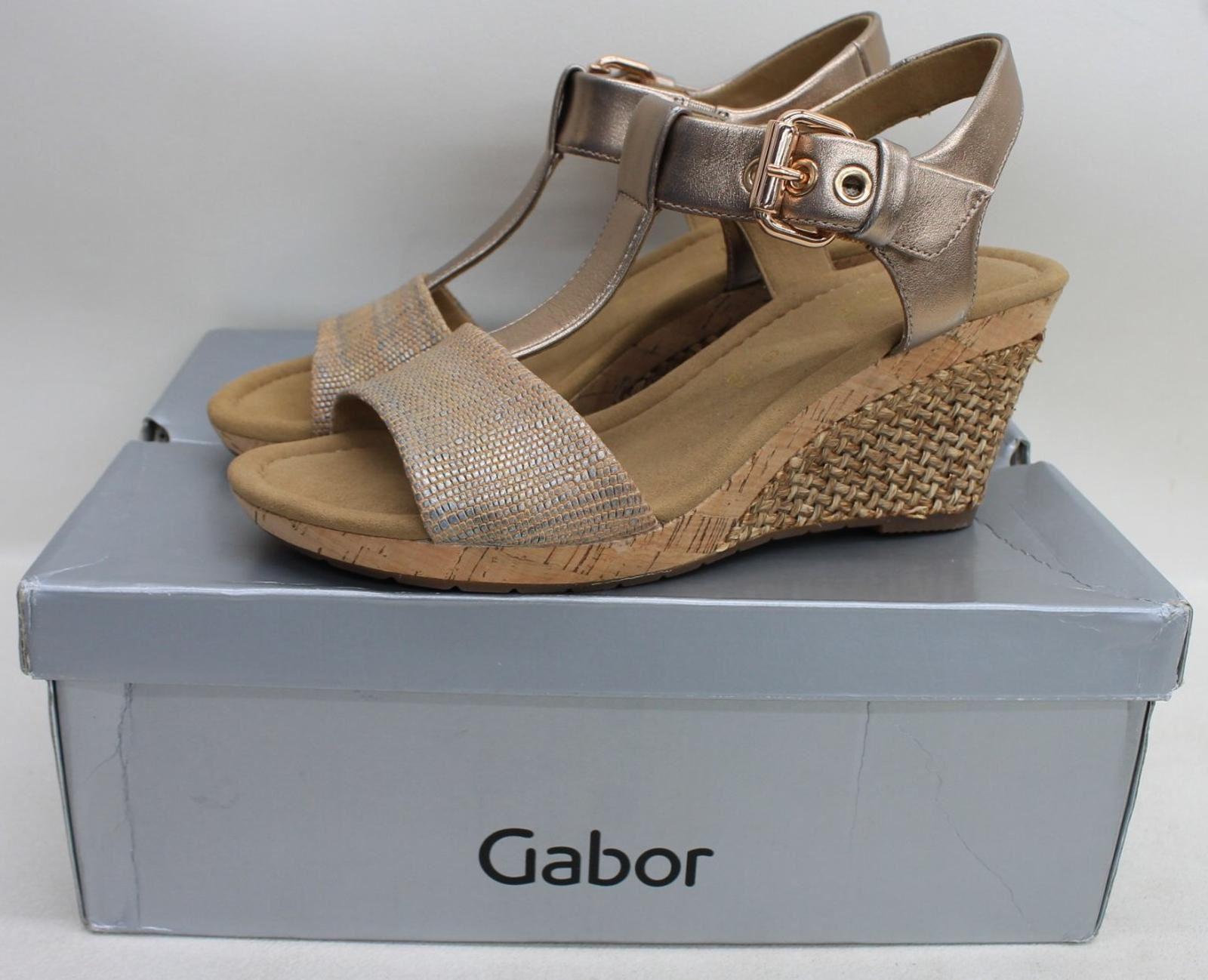 elegant shoes on feet shots of popular stores GABOR Ladies Rose Gold Karen Leather T-Bar Wedge Sandals UK6.5 EU40 NEW