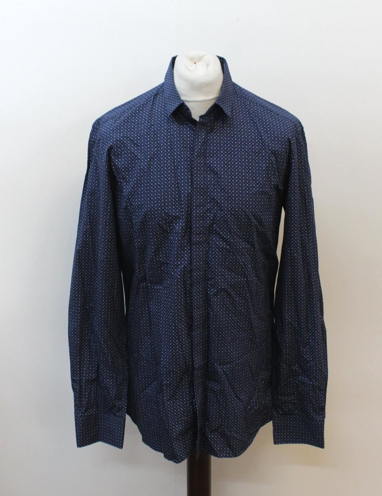 NEIL-BARRETT-Men-039-s-Navy-Blue-Paisley-Slim-Fit-Formal-Shirt-Collar-16-5-034-42cm