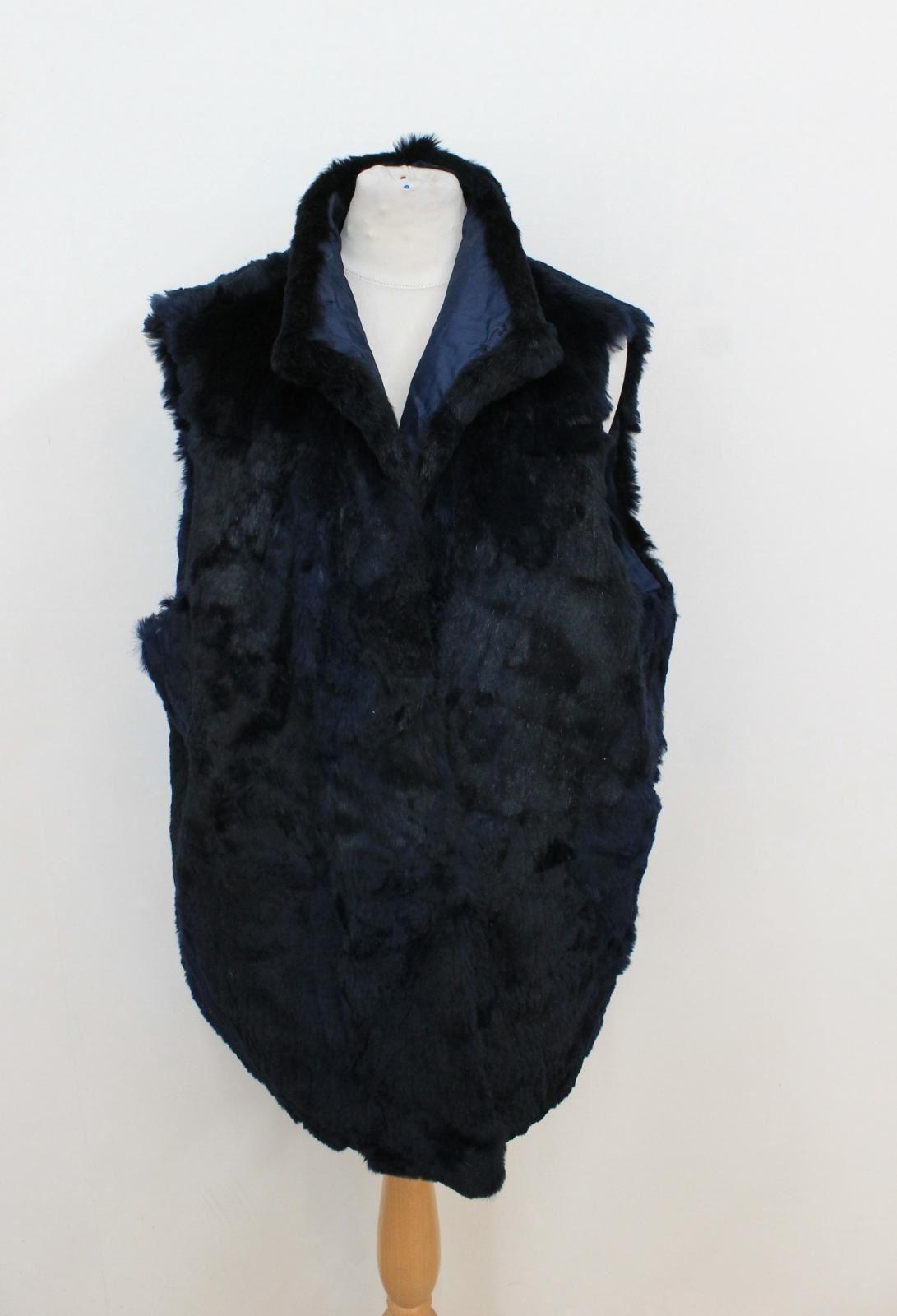 di Gilet vera con in da donna scuro in L coniglio cappuccio pelliccia Gilet pelliccia blu SqXHBwv