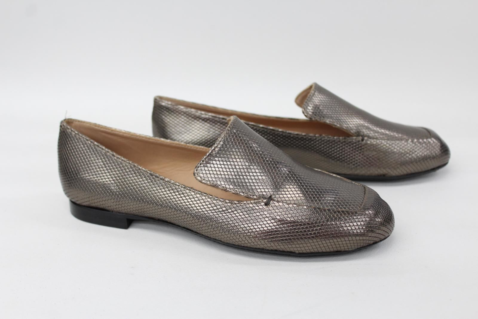 ROBERT-CLERGERIE-Ladies-Gold-Scaled-Leather-Flat-Loafer-Shoes-UK3-5-EU36-5-NEW
