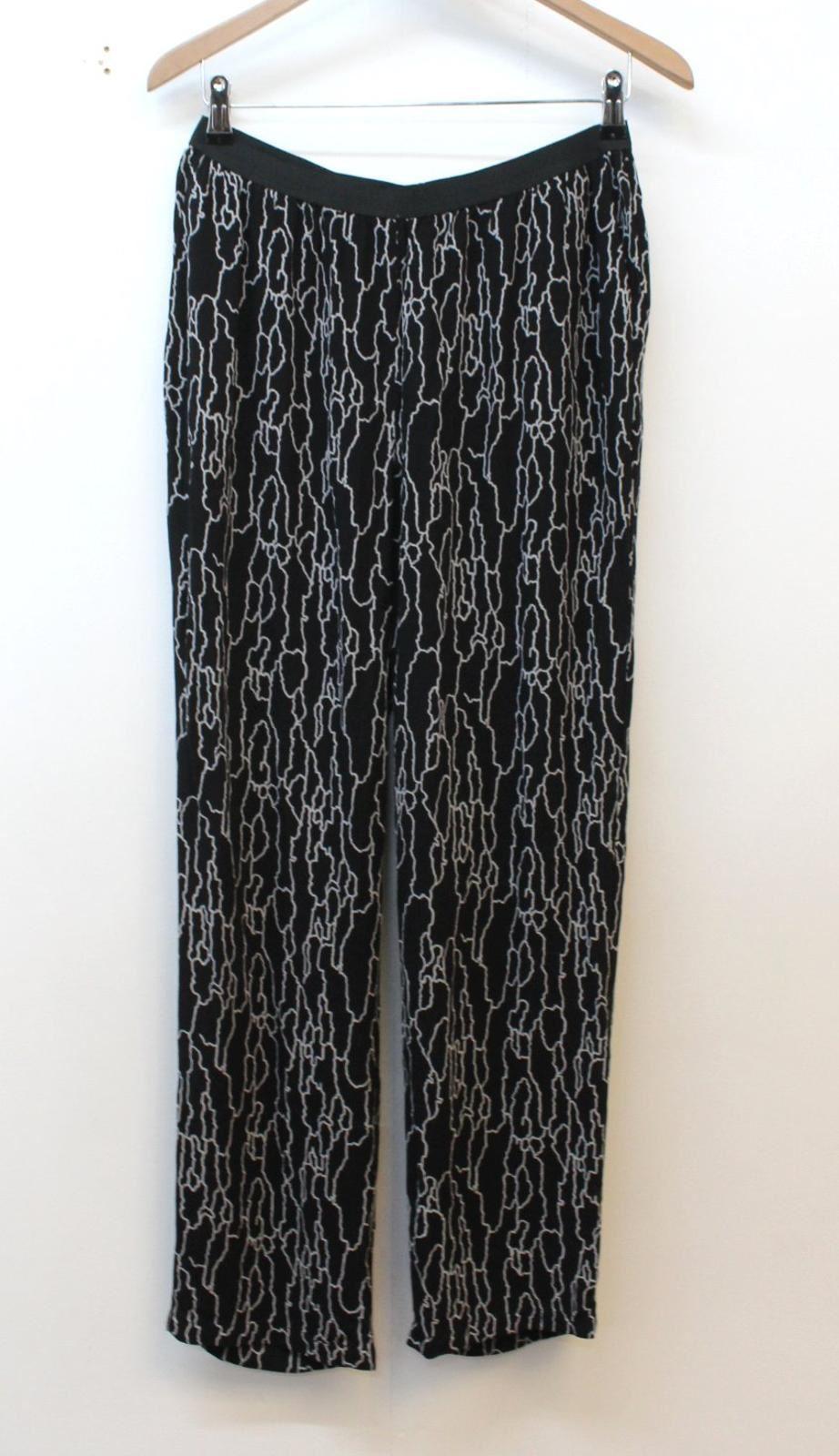 American Vintage Femme Noir Gris Imprimé Décontracté Pantalon L W28 L27 Bnwt