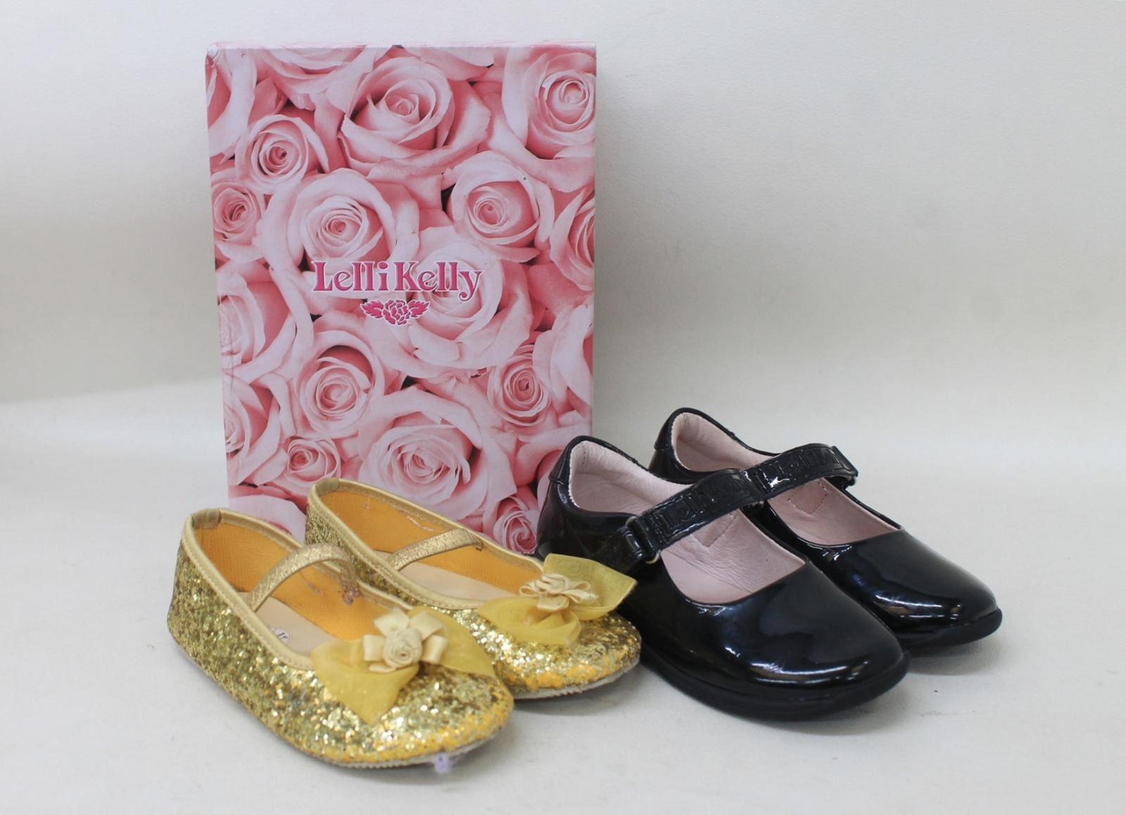 2-x-Girls-Gold-amp-Patent-Black-Ballerinas-Mary-Jane-Flat-Shoes-Size-UK7-8-EU26