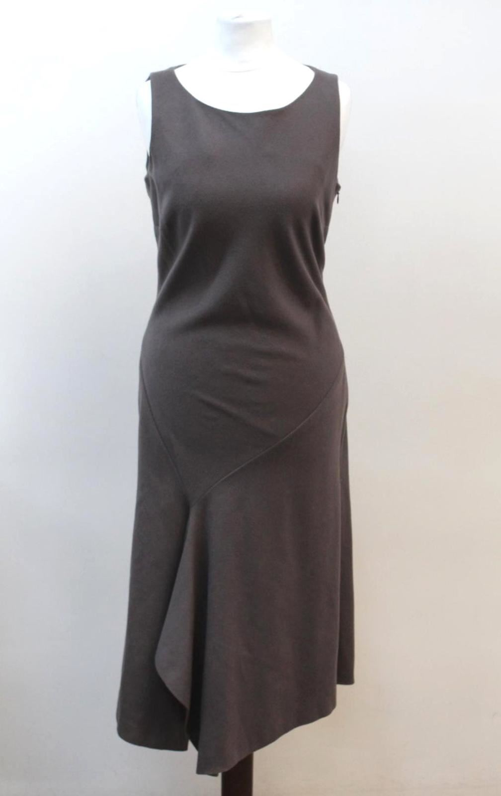 NICOLE-FARHI-Ladies-Grey-Wool-Blend-Sleeveless-Asymmetric-Hem-Dress-UK10-EU38