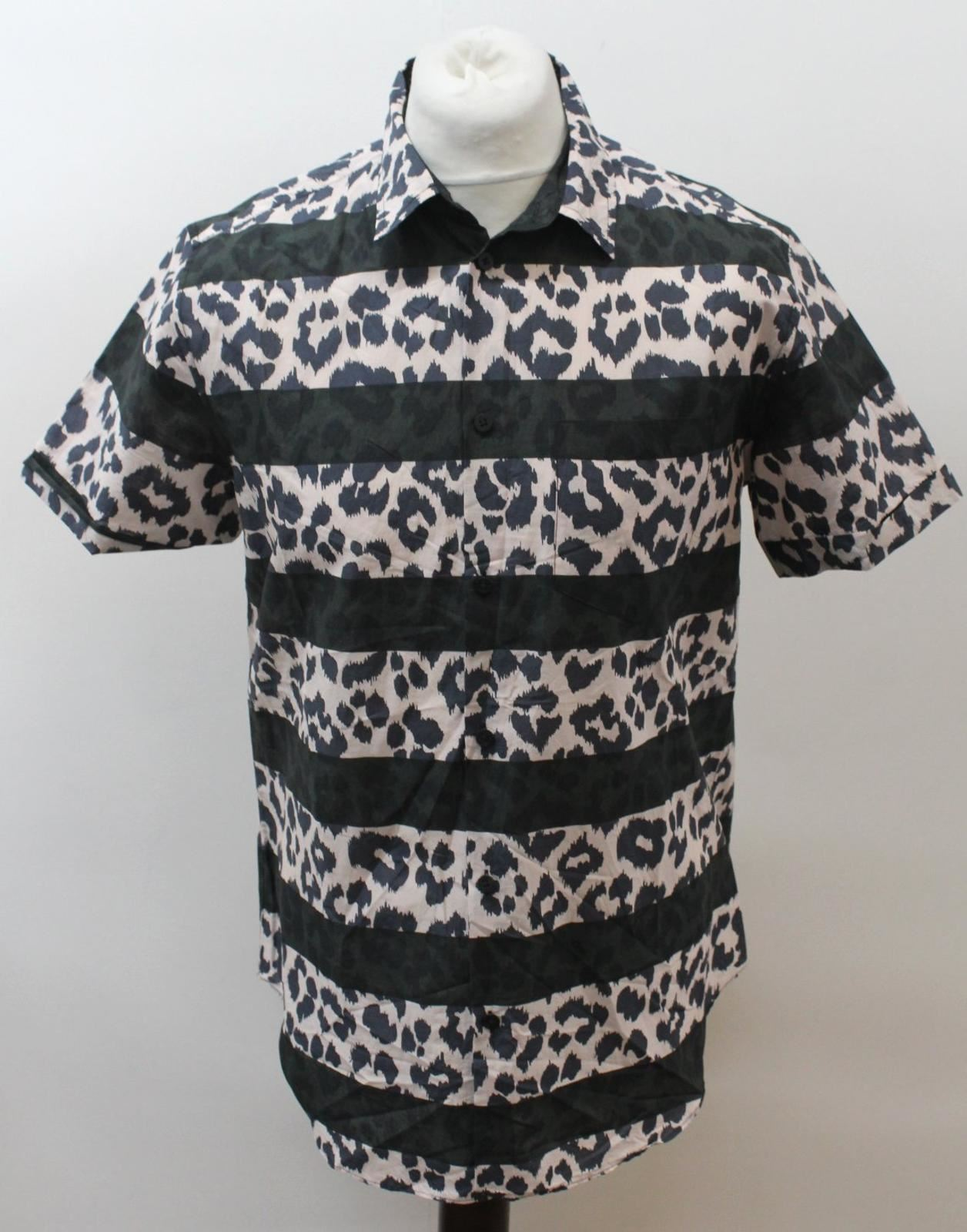 MARC BY MARC JACOBS Men's Beige Black Cotton Leopard Print Stripe Casual Shirt M