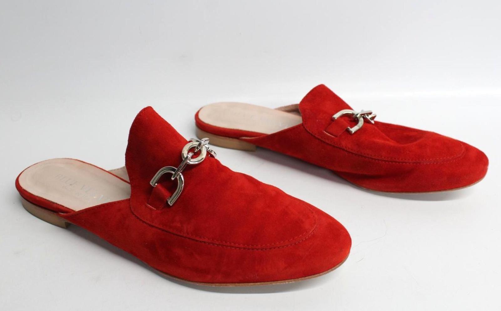 BLUE-VELVET-Ladies-Red-Suede-Mules-Open-Heel-Round-Toe-Flat-Shoes-UK6-EU39