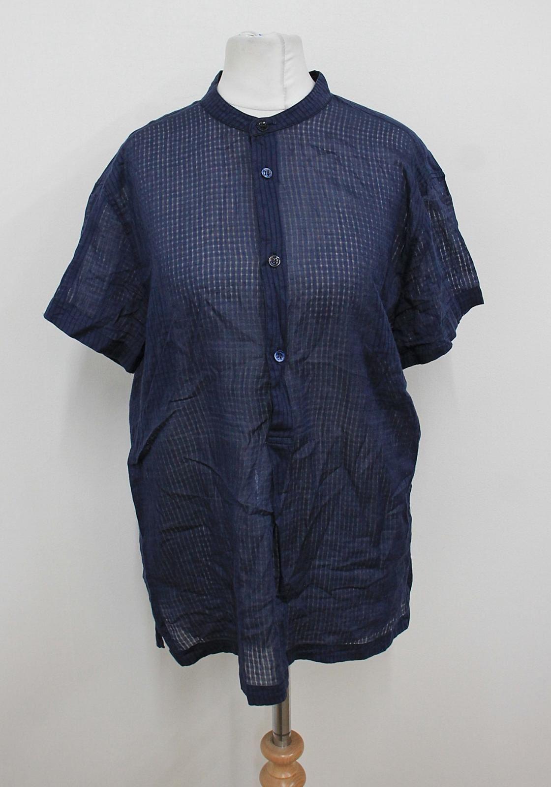 ALEXANDER MCQUEEN Ladies Navy Blue Short Sleeved Crew Neck Shirt IT48 UK16