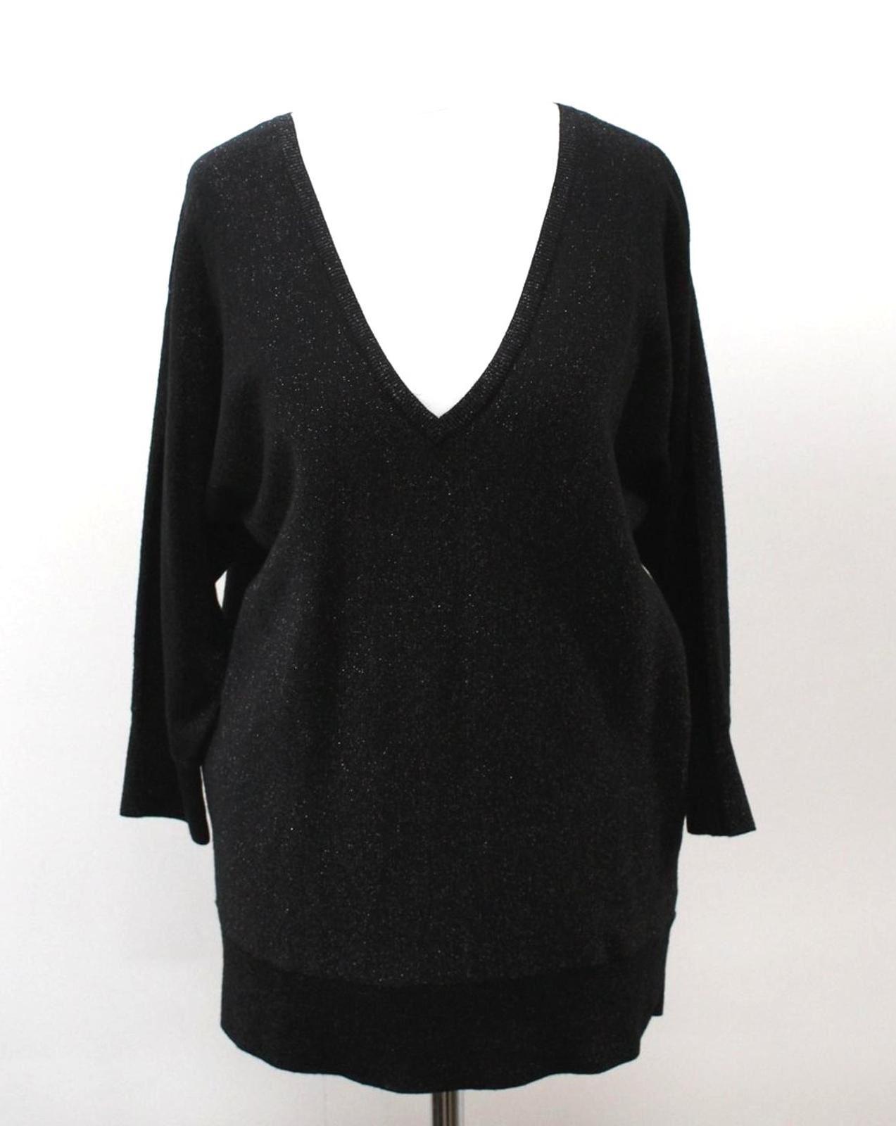 Hobbs-Damen-Schwarz-Gold-Wollmischung-V-Ausschnitt-glitzernde-Marla-Sweater-Pullover-S-NEU