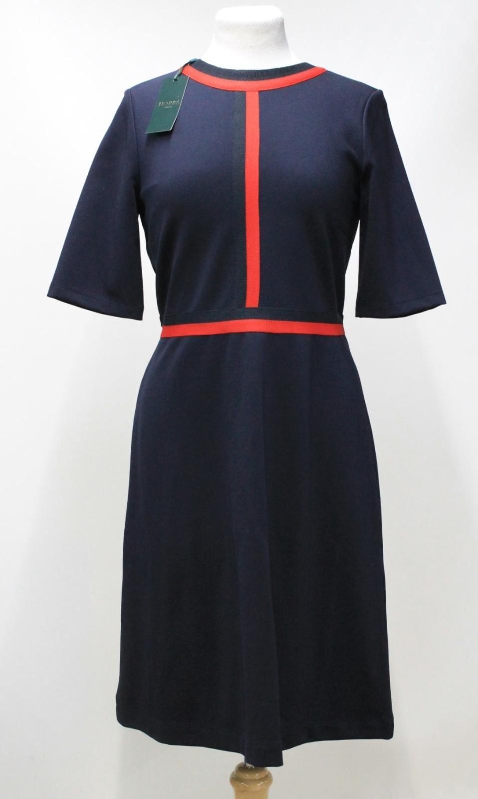 HOBBS-Ladies-Delia-Navy-Red-Stripe-Elbow-Sleeve-Crew-Neck-Shift-Dress-UK10-BNWT